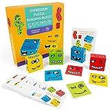 youfenghui Expression Puzzle Building Cubes, Kreative Rubik's Cube-Bausteine, geometrisches Emojie-Würfel-Spiel, Kartenspielzeug der Herausforderungsstufe