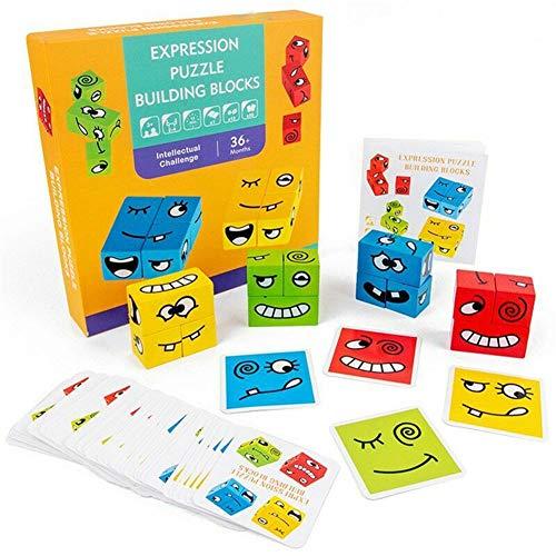 youfenghui Expression Puzzle Building Cubes, Kreative Rubik's Cube-Bausteine, geometrisches Emojie-Würfel-Spiel, Kartenspielzeug der Herausforderungsstufe Holzspielzeug für Eltern und Kinder (A)