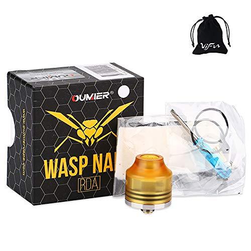 OUMIER WASP NANO RDA Atomizzatore Regolabile Flusso d'aria Bottom Pin per Squonk Style MOD No Nicotina, No E Liquido (Base argento serbatoio arancione)
