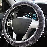 JIAL 1 stück weicher plüsch Auto lenkrad Abdeckung für Winter universal elastische innere case Abdeckung zubehör (Farbe: schwarz) Chongxiang (Color : Grey)