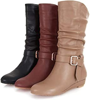 Unm Womens Fashion Knitted Lace Up Round Toe Short Boots Cuffed Mid Chunky Heel Platform Ankle Booties