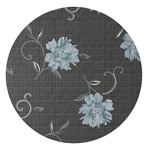 DecoHomeTextil d-c-fix Wachstuchtischdecke Wachstuch Tischdecke Gartentischdecke Größe & Farbe wählbar Rund Oval Vivianne Anthrazit Rund ca. 140 cm abwaschbar Lebensmittelecht geprägt