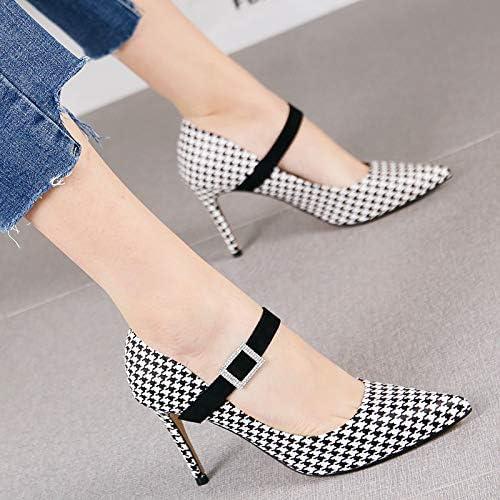 HRCxue zapatos de la Corte Houndstooth Moda Tacones de Aguja Puntiagudo Temperamento Femenino Hebilla Cuadrada Boca Baja Solo zapatos, 35, Pata de Gallo