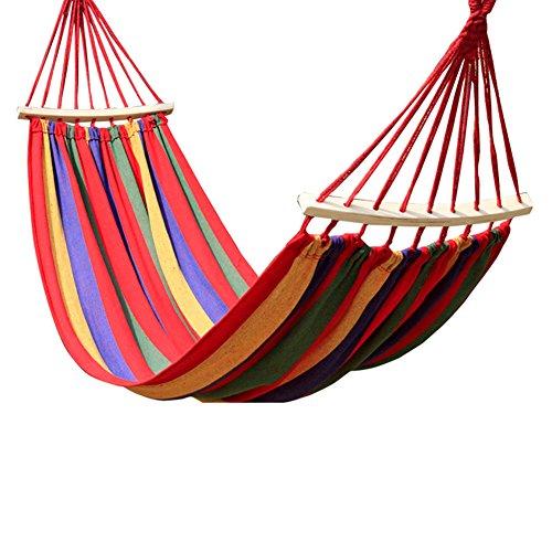 ZREAL Hamaca jardín Colgante Cama Camping Hamaca paracaídas Hamaca Exterior portátil jardín Sports Carlos Viaje Camping Swing Lienzo Stripe Colgar los Hamacs, Rojo, L