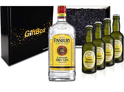 Gin Tonic Giftbox Geschenkset - Finsbury London Dry Gin 0,7l 700ml (37,5% Vol) + 4x Fentimans Tonic Water 200ml inkl. Pfand MEHRWEG + Geschenkverpackung