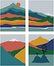 """HPNIUB Abstract Geometric Mountain Art Prints, Set of 4 (8""""X10""""), Sunset Landscape Canvas Poster, Lake Tree Painting for Bedroom Living Room Bathroom Decor, No Frame"""