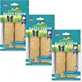 Happy Teeth Natural Cheese Dog Chews | Cheese Flavor | Dental Chew | Protein Rich | Gluten Free - Lactose Free - Wheat Free - Soy Free| 2 Chews per Resealable Pouch | 3 Pouches per Pack