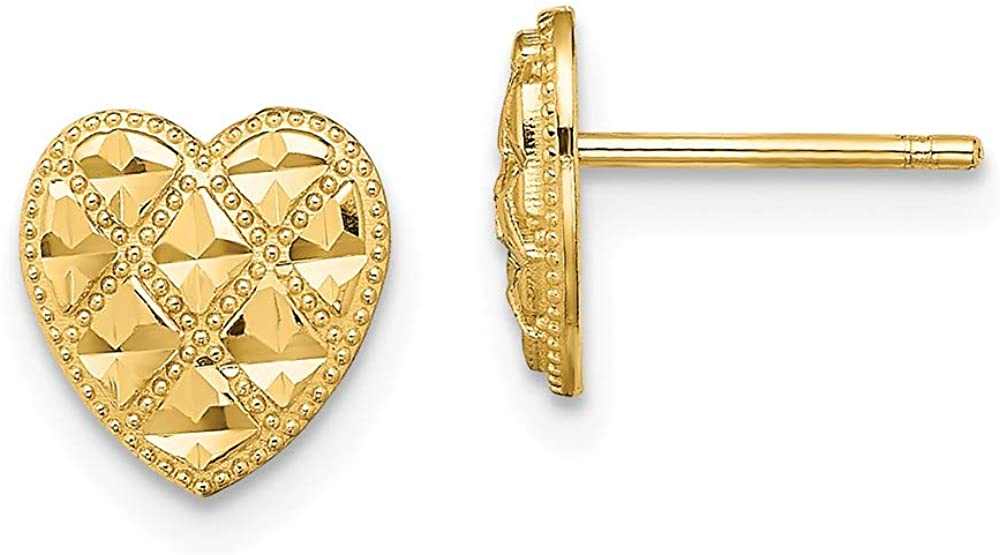 14k Yellow Gold Criss Cross Religious Heart Post Stud Earrings Ball Button Love Fine Jewelry For Women Gifts For Her