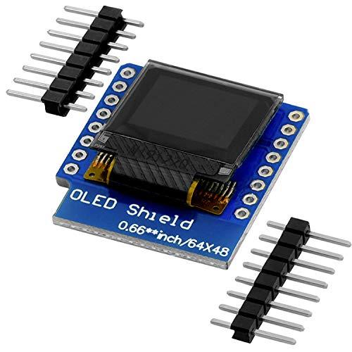 AZDelivery 0,66 Zoll OLED Display Shield I2C 64x48 Pixel I2C Bildschirm Anzeigemodul HW-699 mit weißen Zeichen kompatibel mit D1 Mini inklusive E-Book!