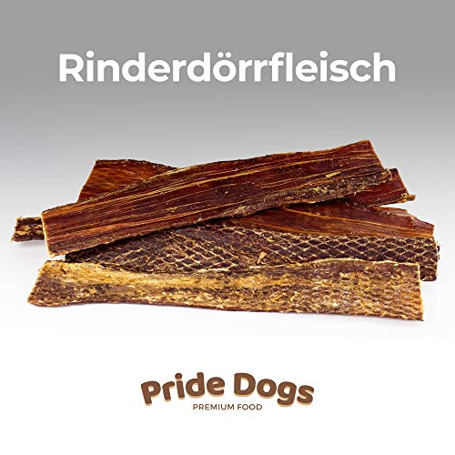 PrideDogs Rinderdörrfleisch 30 cm 1000g der Premium Kausnack für Ihren Hund | 100% Rind aus Deutscher Herstellung | im geruchsneutralen Beutel | Kauartikel