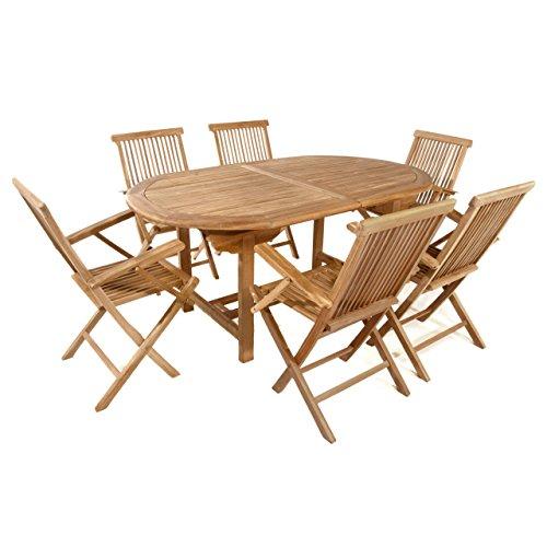 Divero Divero Gartenmöbel-Set Terrassenmöbel-Garnitur Sitzgruppe - großer Esstisch 170/230 cm ausziehbar + 6X Klappstuhl mit Armlehne - Teak massiv behandelt