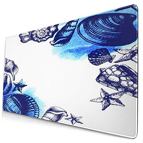 LASINSU Alfombrilla Gaming,Sealife Conchas Marinas Y Piedras De Arena Deep Water Star Fish Blue,con Base de Goma Antideslizante,750×400×3mm