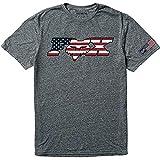 Fox Racing Mens USA Flag Premium Tee Heather Graphite (XL), Grey, X-Large