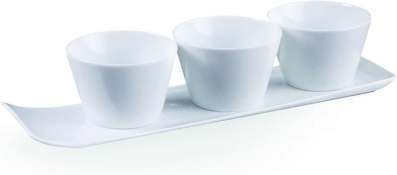 Vivo by Villeroy & Boch Group New Fresh Collection Servierset, 4-teilig, Premium Porzellan, Weiß B01MRLT1RJ