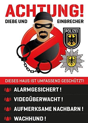Aufkleber Sticker Warnaufkleber Warnhinweis – Einbruchschutz Sicherheit Security Alarm Abschreckung - DOPPELPACK