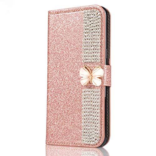 Huawei P30 Lite Hoes, Glitter PU Lederen Handgemaakte Bling Sparkly Diamonds Gesp Gems Ketting Portemonnee Telefoonhoesjes Beschermende Cover met Stand Card Slots Magnetische Sluiting voor Huawei P30 Lite Huawei P30 Lite Roos