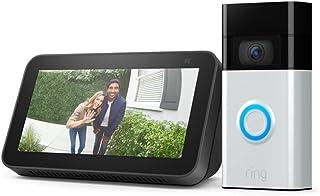 Ring Video Doorbell (Satin Nickel) bundle with Echo Show 5 (2nd Gen)