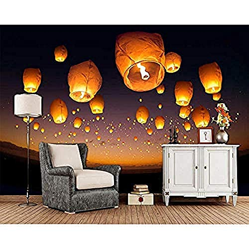 Rylryl Flying lantern in the night sky 3d papel tapiz sala de estar tv sofá pared dormitorio papel tapiz decoración del hogar restaurante mural-400x280cm