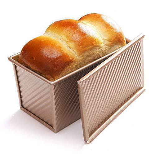 LOCGFF Rechteckige Kuchenform Brot Toastform, Antihaft Mit Abdeckstreifen Lasagne Auflauf Backform, Rostfrei Und Ungiftig, Gold