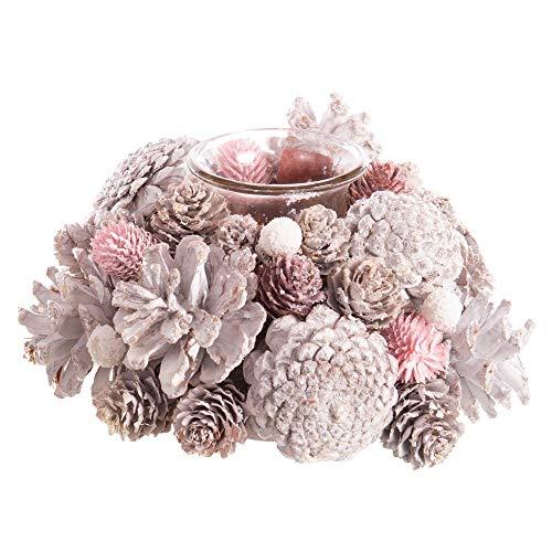 Centro de Mesa con portavelas Rosa de Cristal y piñas de ø 18x8 cm - LOLAhome