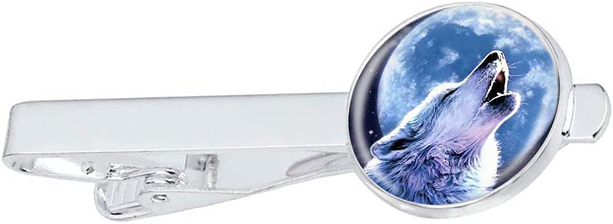 LooPoP Men Tie Clip Lunar Howl Wolf Stainless Tie Pins for Business Wedding Shirts Tie Clips Include Gift Box