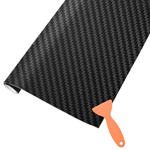 AOBETAK Vinilo Carbono de Fibra con Raspadores de Plástico,1500 X 300mm Adhesivo Pegatina de Vinilos para Coche,Motocicletas,Bricolaje,Interior/Exterior,Autoadhesivo Texturizado 3D,Negro Mate