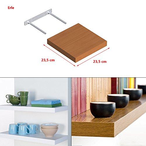 Wandregal Regal Wandboard Bücherregal Hängeregal frei schwebend MDF Holz Deko 235x235mm Erle