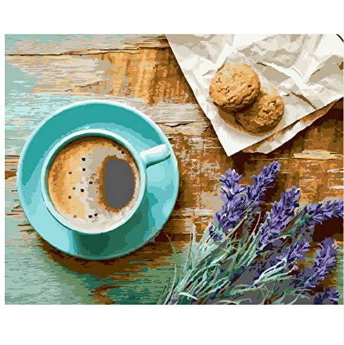 WAZHCY Bild ölgemälde by Zahlen wanddekor DIY malerei auf leinwand für wohnkultur Kaffee und Brot 40x50 cm,Mit Holzrahmen,I