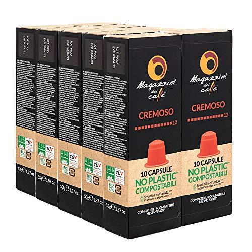 MAGAZZINI DEL CAFFE Cafe de Mezcla Cremosa, Paquete de 100 Capsulas Compostables Autoprotegidas Compatibles con la Maquina de Cafe Nespresso, Made in Italy, sin OGM, Vegano y Kosher