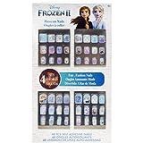 Disney Frozen - Townley Girl 48 piezas de uñas a presión para niñas, niños y niños pequeños con kit de puntas de uñas acrílicas de cubierta completa pre-pegamento, mayores de 6 años