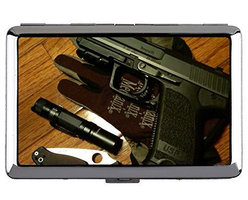 Zigaretten-Etui, Love Gun Messer Waffe Business Credit ID-Kartenhalter