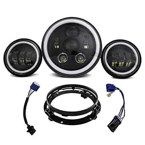 Phare noir LED de 7 pouces - 2 feux de brouillard de 4,5 pouces - Pour véhicules Harley Davidson