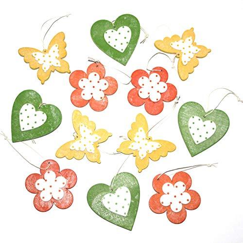 LB H&F 12er Set Dekohänger Blume Herz Schmetterling Holz Deko zum Aufhängen - IT