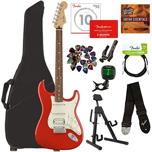 Fender Player Stratocaster HSS Pau Ferro Bundle w/Gig Bag, Stand, Tuner, Strap, Instrument Cable, Strings, Picks, Capo, Fender Play Trial, and Austin Bazaar Guitar Essentials DVD - Sonic Red