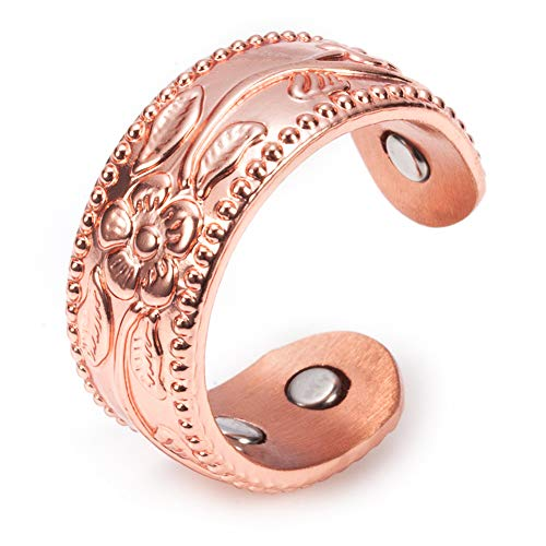 Anillo magnético de cobre puro para hombres, 9 mm, energía de la salud, 4 unidades, brazalete abierto ajustable, alto pulido