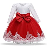 HNXDYY Baby Girl Princess Dress Infant Gown Big Bow Lace Wedding Birthday Pegeant Party Long Sleeves Gown Red 12-24 Months