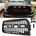 VZ4X4 Matte Black Front Grill for Ford F150 Raptor 2015 2016 2017, Including XL, XLT, LARIAT, King Ranch, Platinum and Limited, Amber LED Lights included, Raptor Style Grille