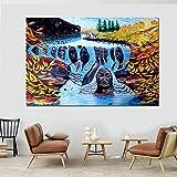 Naturaleza Cara humana Arte Bosque Paisaje Lienzo Pintura Río Cartel Imprimir Imagen de la pared Sala de estar 30x40CM