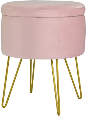 Velvet Storage Ottoman Home Vanity Seat//Table Small Round Soft Foot Rest Stool with Golden Hairpin Legs for Living Room D14.9 xH17.9, Pink Bedroom and Kids Room