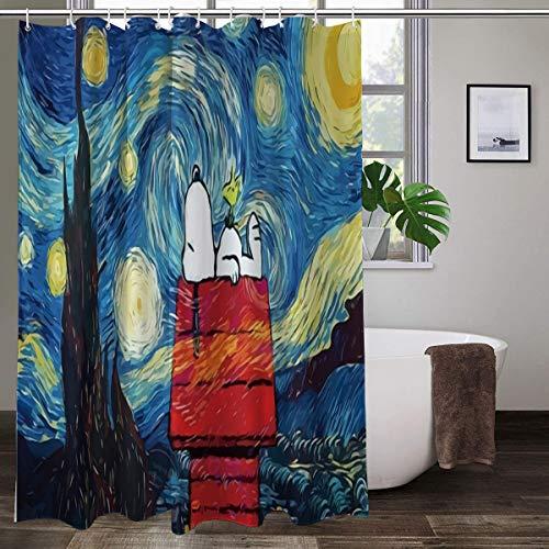 Cute Doormat Snoopy Duschvorhänge, Badezimmer-Vorhang-Set mit Haken, wasserdichte Duschvorhänge, Polyester, Badvorhang, Badezimmer-Dekoration, 168 x 182 cm