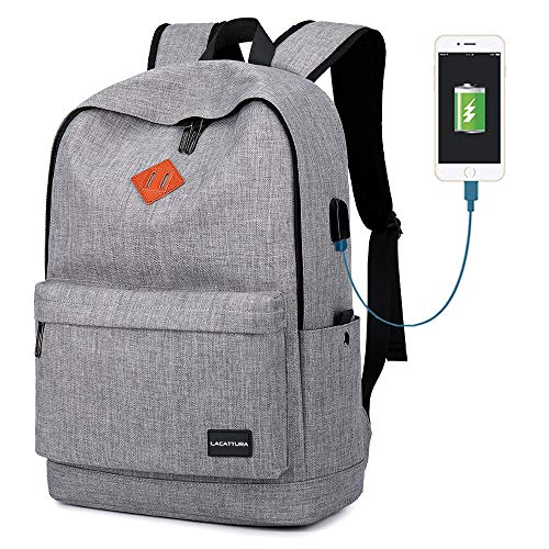 School Backpack, Lightweight Student Laptop Bookbag for Teen Boys Girls-Grey