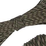 パラコード 4mm 31m 9芯 テント ロープ パラシュートコード ミルスペック 耐荷重 250kg(550LB) 定番 迷彩柄 登山用品 キャンプ サバイバル アウトドア タープ用 (森林カモ)