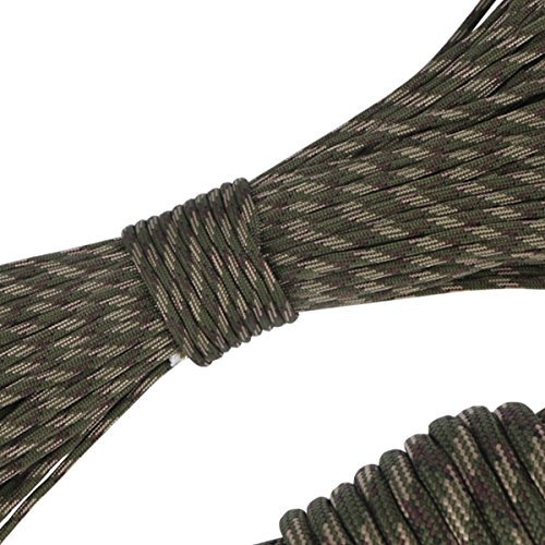 AUWOO パラコード 9芯 パラシュートコード 4mm テント ロープ 31m ガイロープ 耐荷重 250kg 550LB 定番 迷彩柄 登山用品 アウトドア キャンプ サバイバル 用 森林カモ