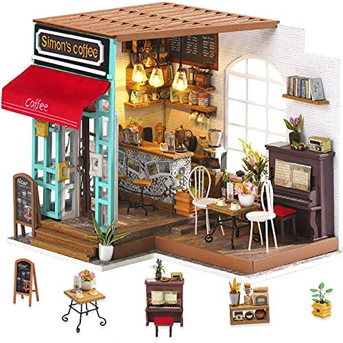 Rolife 3D Holz Puppenhaus mit Licht Miniatur Kaffee Haus DIY Modell Kit-Tops Spielzeug für Kinder 14 15 16 17 Jahre alt up Erwachsene(Simmon's Coffee)