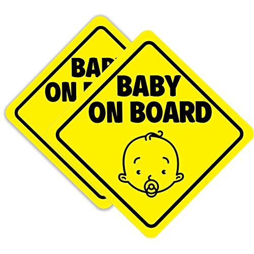 SEALEN Baby On Board-Schild für Auto, Magnetische Reflektierende Auto Sicherheitswarnung Aufkleber, Warnschild Aufkleber Aufkleber für Autofenster 2 PCS