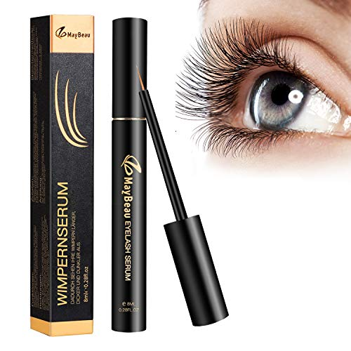 MayBeau 8ML Wimpernserum Augenbrauenserum für Stärkeres und Schnelles Wimpernwachstum Wimpern Booster Natürliche Wimpernverlängerung Augenbrauen Serum für Mehr Länge Dichte Eyelash
