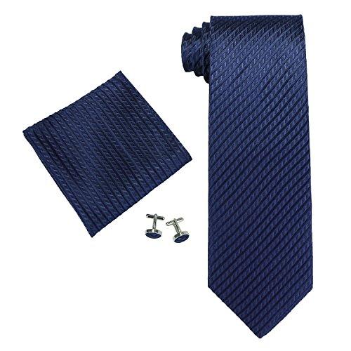 Landisun Solid Set De Cravates, Bleu (Navy Blue), Medium Homme