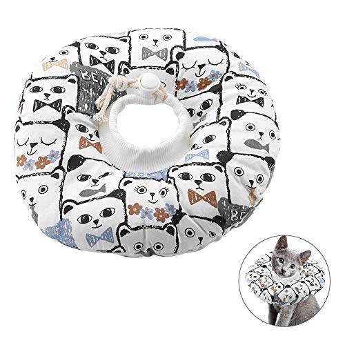 Smandy Haustier Halsband Schutzkragen, verstellbar, leicht, aufblasbar, mit süßem Katzengesicht Muster, zum Schutz von Kätzchen(S)