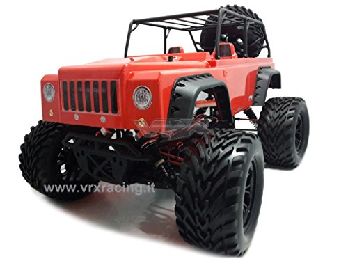 VRX Jeep Monster Truck off-Road 1/10 Motore Elettrico Brushed RC-550 Radio 2.4Ghz 4WD RTR