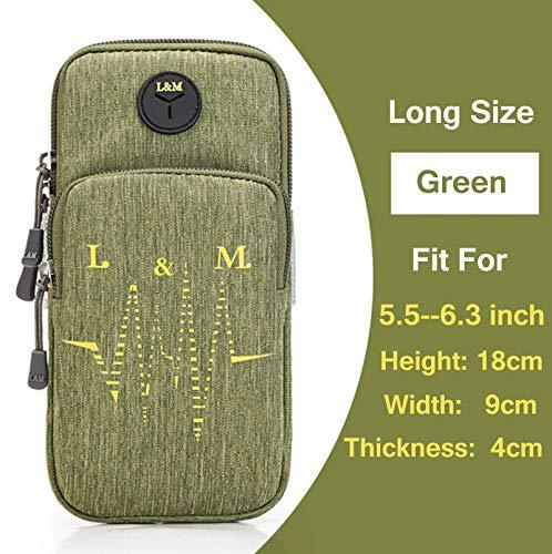 ST sporttas met mouwen voor sport, looptas, buitentas, tas voor mobiele telefoon, handtas, For5,5-6,3 inch, groen
